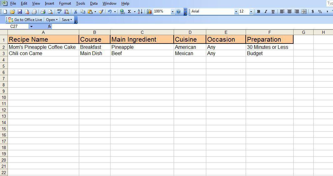 Cómo crear una hoja de cálculo de Excel receta - Ubiquitour.com